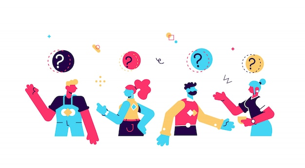 Collection of portraits of thoughtful people. bundle of smart men and women thinking or solving problem. set of pensive boys and girls surrounded by thought bubbles. flat cartoon  illustration.