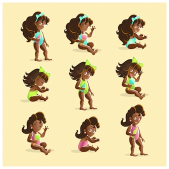 Collection of portraits of young black haired african girls in different poses.  illustrarion