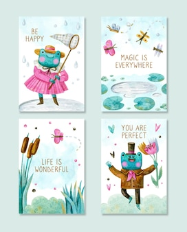 Collection of positive cards with cartoon frogs