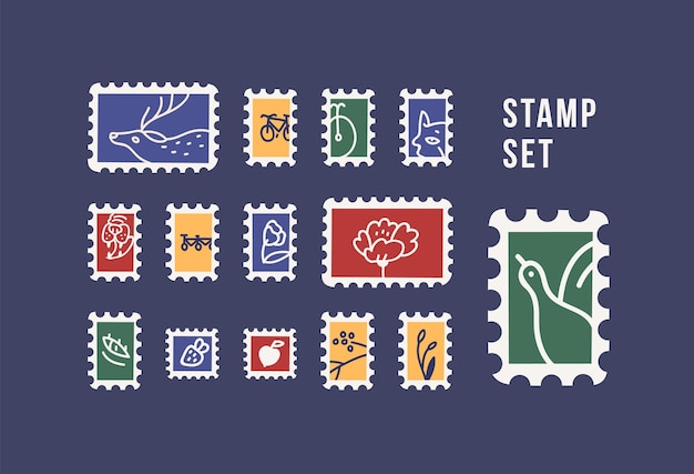 Collection of postage stamps with animals, birds, flowers and fruits isolated on dark background. philately set. bundle of decorative design elements. flat cartoon colorful vector illustration.