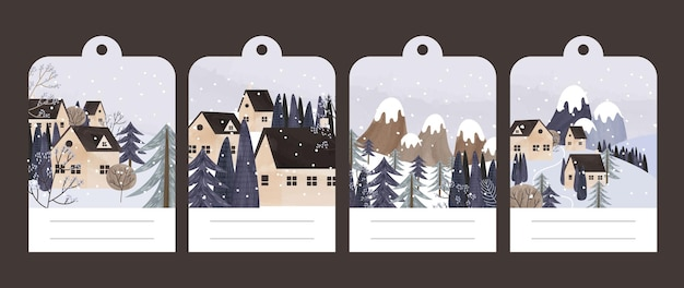 Collection of postcards with a winter landscape and houses