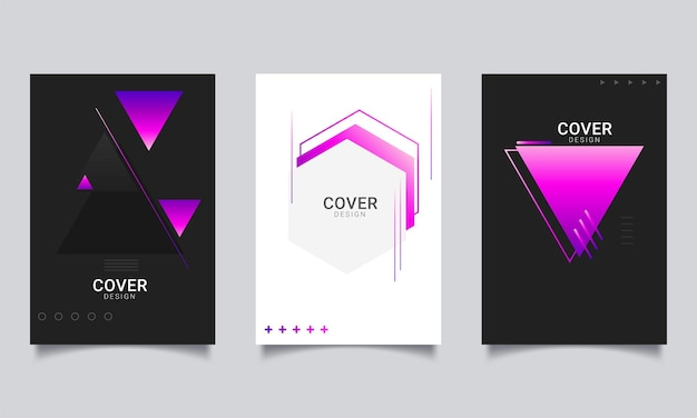 Collection of poster flyer brochure or annual report cover layout design template