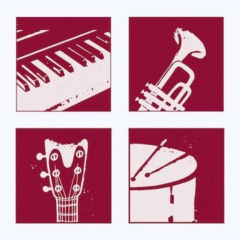 Collection of posters with abstract musical instruments piano saxophone guitar drum