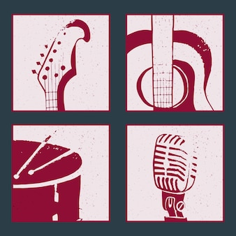 Collection of posters with abstract musical instruments