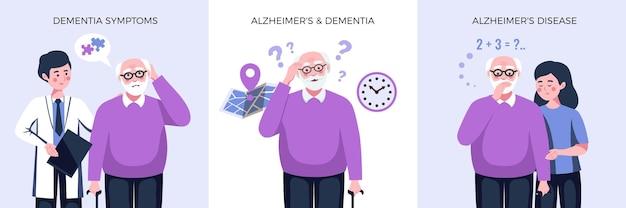 Raccolta di manifesti con uomo anziano con vari sintomi