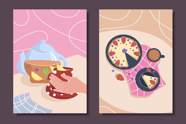 Collection of posters with still lifes and pastries