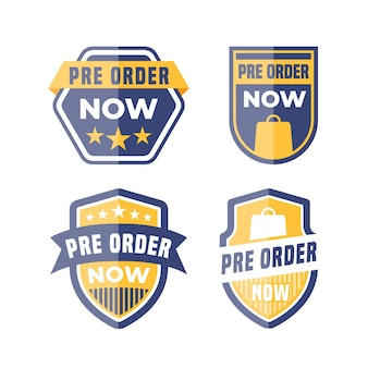 Collection of pre-order label in blue and yellow