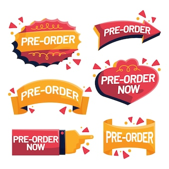 Collection of pre-order label in red and yellow