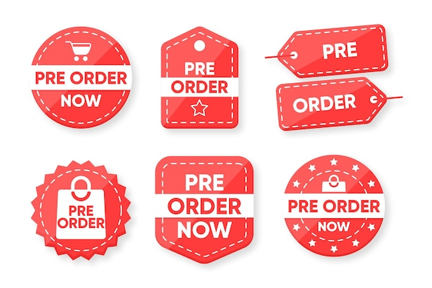 Collection of pre-order labels Free Vector