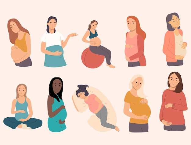Collection of pregnant women doing gymnastic exercise, sleeping, meditating.happy pregnancy set.