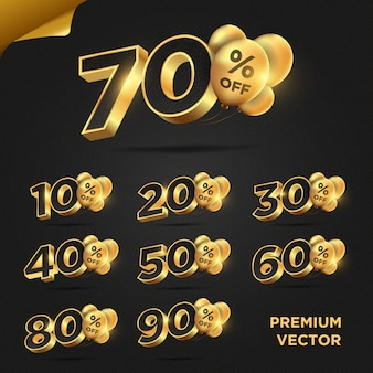 Collection of premium shiny gold discount numbers percent off isolated or promotion discount sale advertising