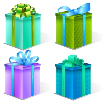 Collection of presents boxes decorative gifts
