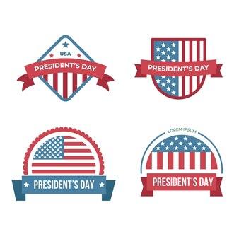 Raccolta di etichette per eventi del giorno del presidente
