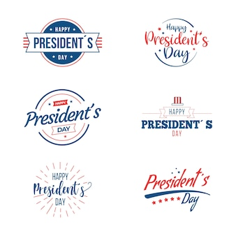 Collection of presidents day labels
