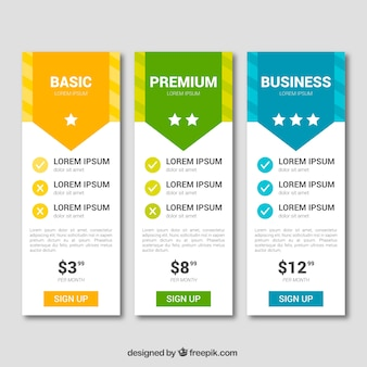 Collection of price tables with different rates