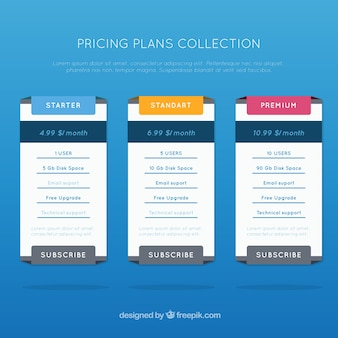 Collection of pricing plans tables