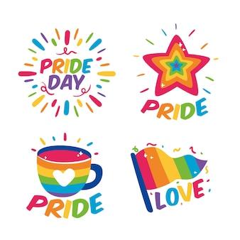 Collezione di etichette per il giorno dell'orgoglio