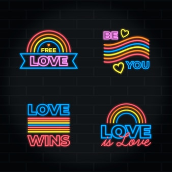 Collection of pride day neon signs