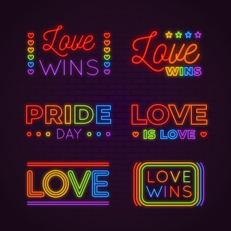Collection of pride neon signs