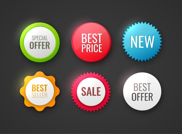 Collection of promo badges different colors and shapes badges isolated on white new offer best choice best price and premium tags