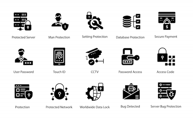 Collection of protection glyph vector icons