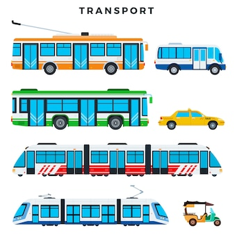 Collection of public transport illustration