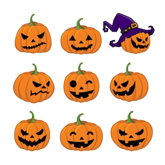 Collection of pumpkins with different face expression