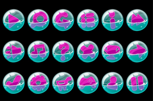 A collection of purple buttons in soap bubbles. set of bubble icons for graphical interface.