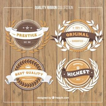 Raccolta di etichette di qualità premium in stile vintage