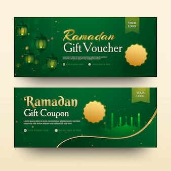 Collection of ramadan gift voucher with illuminated lanterns and