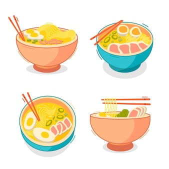 Collection of ramen soup in bowls