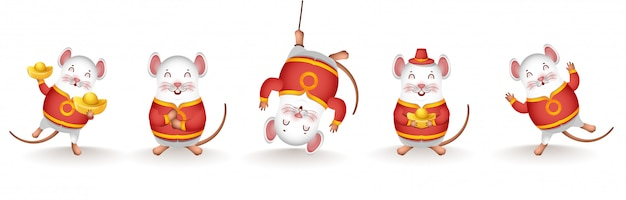 Collection of rat cartoon character holding chinese gold in different activity