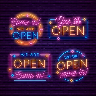 Collection of re-opening neon signs