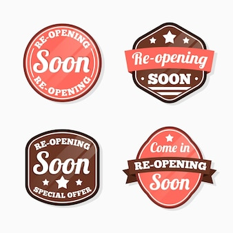 Collection of re-opening soon labels