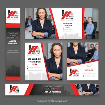 Collection of real estate banner Premium Vector