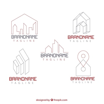 Collection of real estate logos in flat design