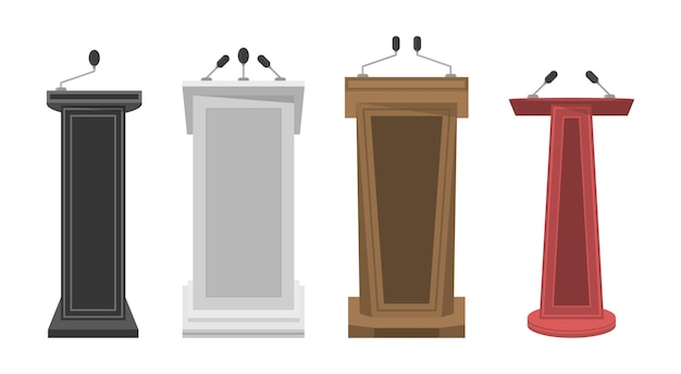 Collection of realistic 3d pedestal, wooden tribune and podium with microphone for speech. tribune, stage, stand or debate podium rostrum with microphones. business presentation or conference.  .