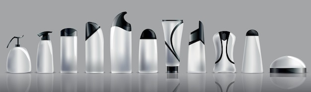 Collection of realistic blank cosmetic tubes.