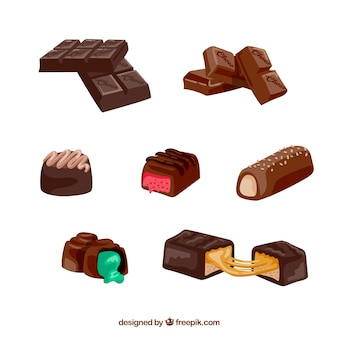 Collection of realistic chocolate bars