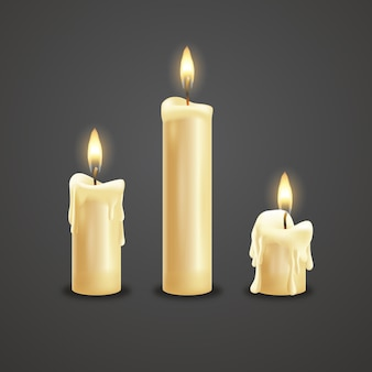Collection of realistic christmas candles