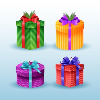 Collection of realistic christmas gifts