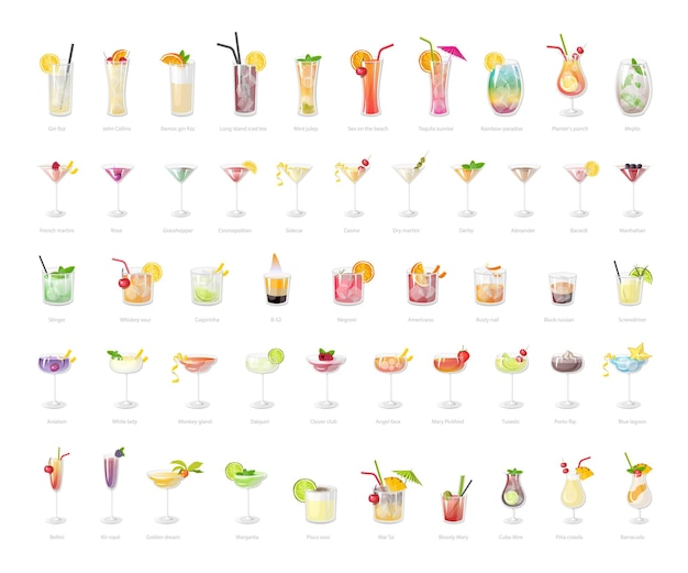 Collection of realistic cocktails.