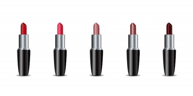 Collection of realistic  color lipsticks on the white background. concept of cosmetics, beauty and fashion.