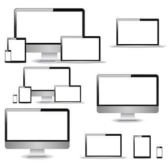 コレクションの現実的なコンピューターモニター、ラップトップ、タブレット、携帯電話