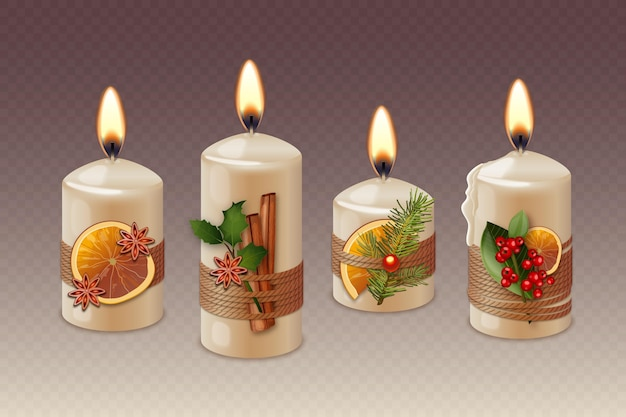 Collection of realistic different christmas candles