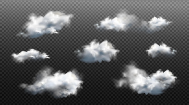Collection of realistic different clouds
