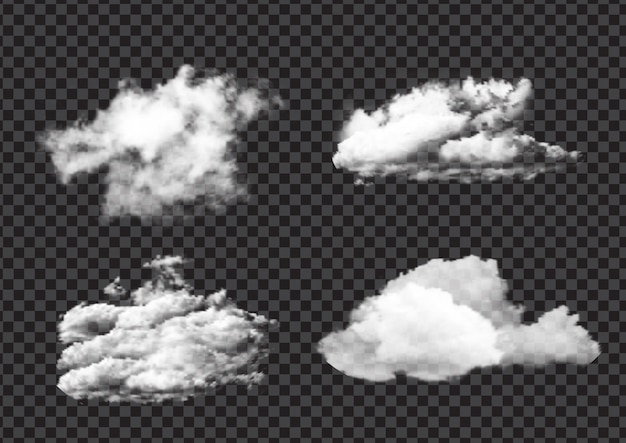 Collection of realistic flurry white cloud designs