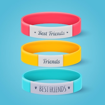 Collection of realistic friendship bands