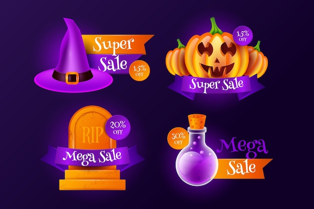 Collection of realistic halloween sale badges