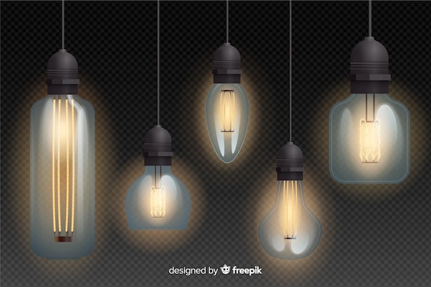Collection of realistic light bulbs hanging
